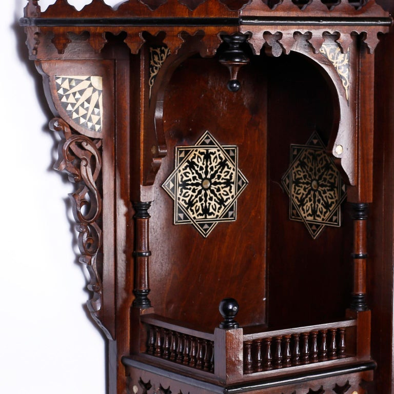 Hand-Carved Large Syrian Inlaid Wall Cabinet or Shelf For Sale