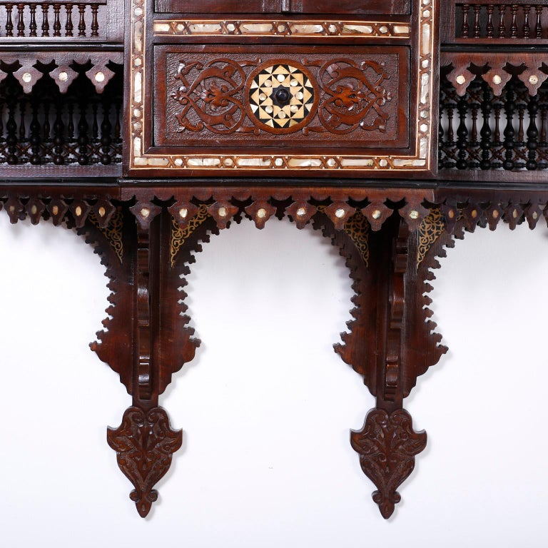 Large Syrian Inlaid Wall Cabinet or Shelf In Excellent Condition For Sale In Palm Beach, FL