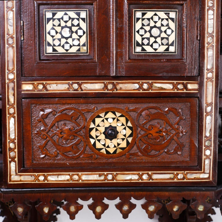 Mother-of-Pearl Large Syrian Inlaid Wall Cabinet or Shelf For Sale