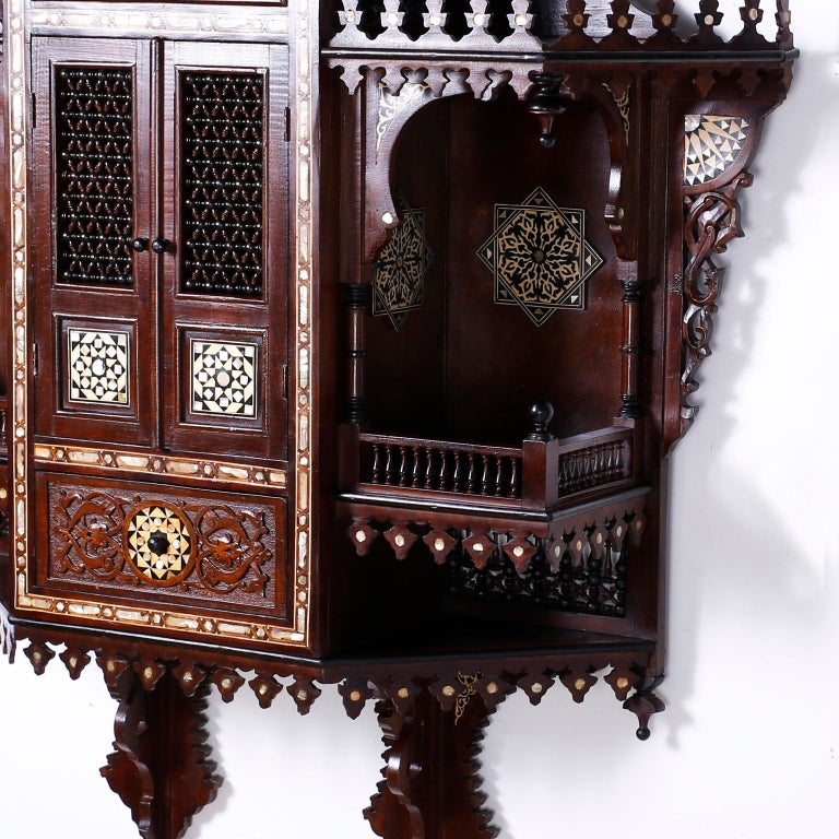 Large Syrian Inlaid Wall Cabinet or Shelf For Sale 1