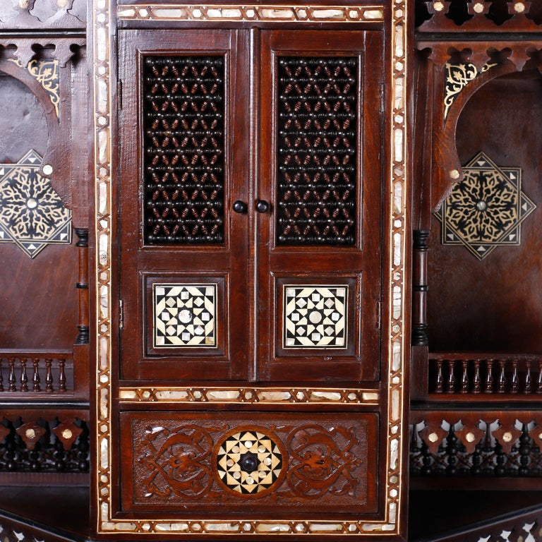 Large Syrian Inlaid Wall Cabinet or Shelf For Sale 2