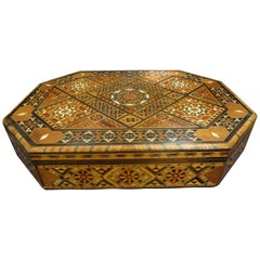 Large Moroccan or Middle Eastern Octagonal Box with Inlaid Mother of Pearl