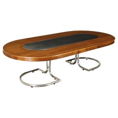 Large Table Chromed Aluminium Walnut Veneer Chromed Metal, Italy, 1960s
