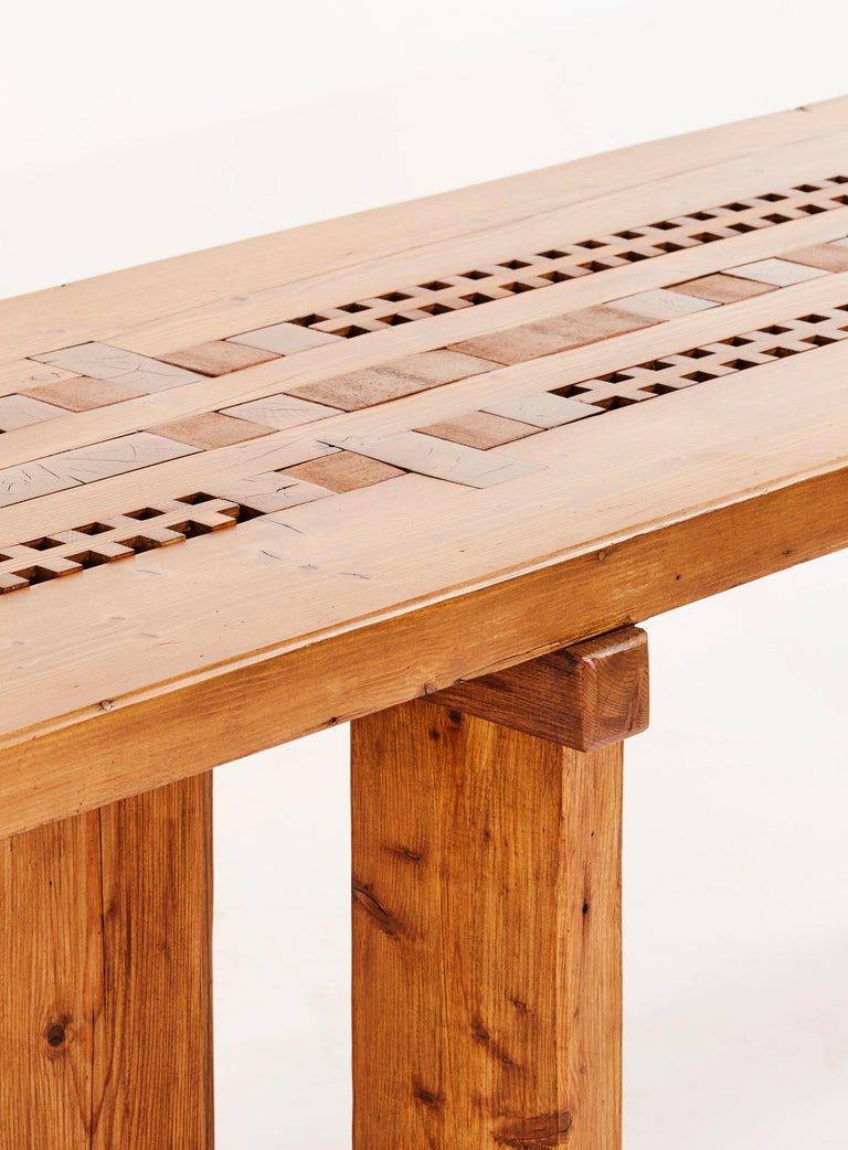 Brutalist Large Table in Pine by Dominique Zimbacca For Sale