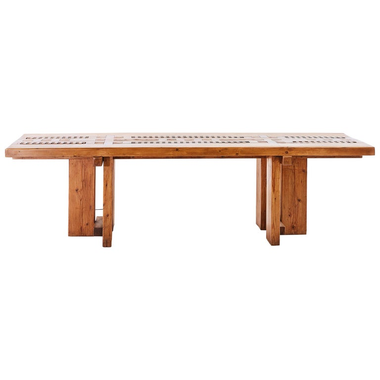 Large Table in Pine by Dominique Zimbacca For Sale