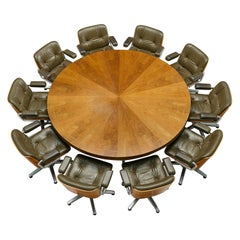 Set of Large Round Conference Table and Swivel Chairs