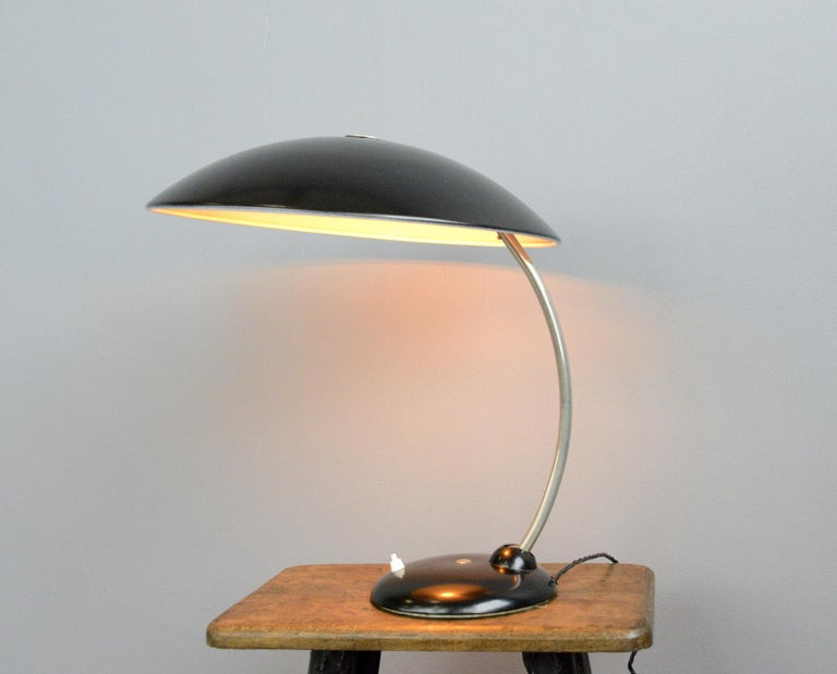 Large table lamp by Hala, circa 1940s  - Aluminium shade with chrome arm - Switch on the base - Takes E27 fitting bulbs - Made by Hannoversche Lampenfabriek (Hala) - German, 1940s - Measures: 46cm wide x 46cm tall x 60cm deep  Condition