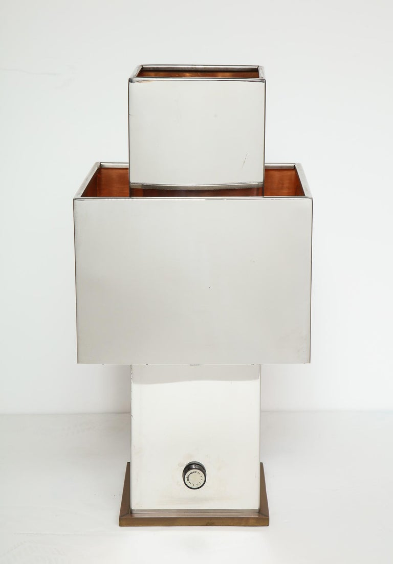 Rare square table lamp by Willy Rizzo, signed and all original.