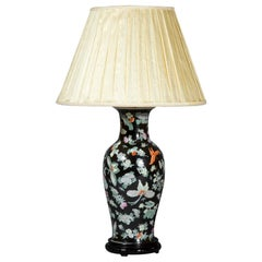 Large Table Lamp, Famille Noir with Floral Decoration and Butterflies