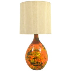 Large Table Lamp with Vivid Orange Glaze in the Manner of Fantoni