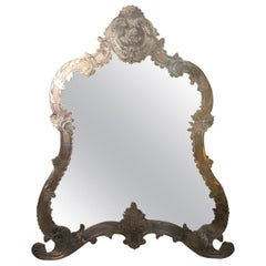 Large Table Mirror in Sterling Silver 19th Century