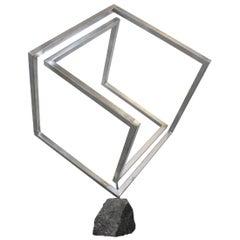 Mid-Century Modern Style 3D Cube Sculpture
