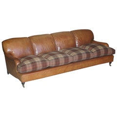 Large Tan Brown Leather Four-Seat Sofa Tartan Wool Feather Cushions Howard Arm