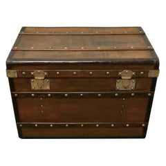 Large Tan Canvas, Wood, Leather and Brass Bound Steamer Trunk