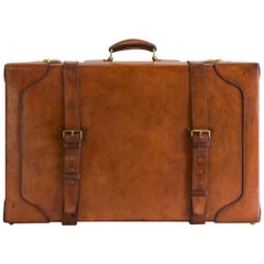Large Tan Leather Suitcase with Straps and Tray, circa 1930