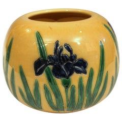 Large Tanabe-Awaji Pottery Japanese Incised Iris Signed Jardinière Bowl Vase
