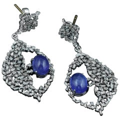 Large Tanzanite and Baguette Diamond Earrings