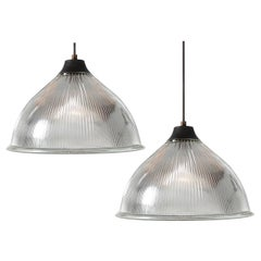 Pair of Large Tapered Dome Holophanes, Matching