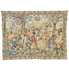 Large Tapestry Featuring a Medieval Harvest Scene