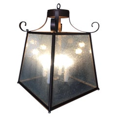 Large Tapper Bronze 4-Light Lantern Chandelier with Scrolling Pattern