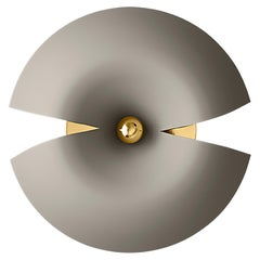 Large Taupe and Gold Contemporary Wall Lamp