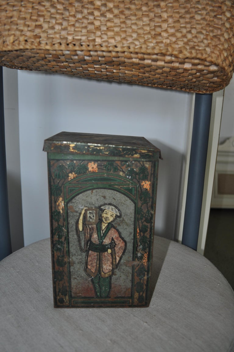 Mid-20th Century Large Tea Box, from the 1930s, Asian Tea Tin For Sale