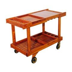 Large Teak Bar Cart