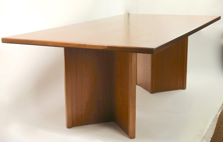 Large Teak Danish Mid Century Conference Dining Table For Sale 7