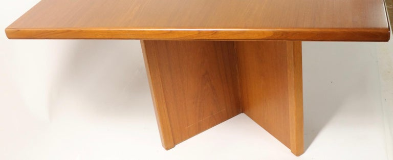 Scandinavian Modern Large Teak Danish Mid Century Conference Dining Table For Sale