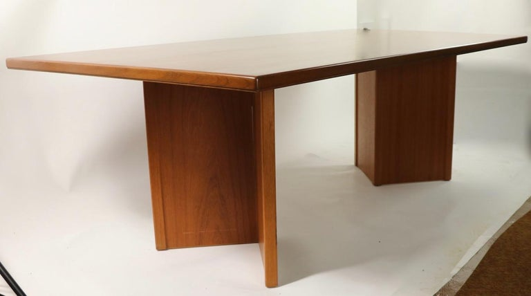 Large Teak Danish Mid Century Conference Dining Table In Good Condition For Sale In New York, NY