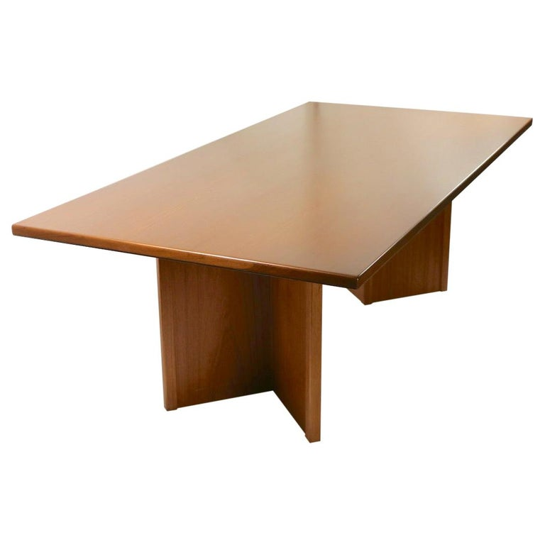 Large Teak Danish Mid Century Conference Dining Table For Sale