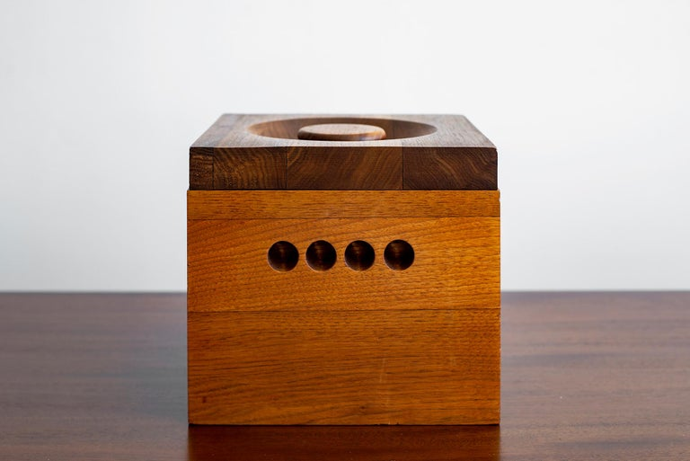 Large teak ice bucket and lid stamped Adams Dorset Vermont. Substantial size and unique modern detail. Interior removable plastic bucket.