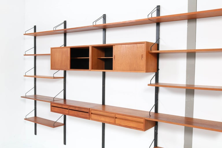 Large Teak Mid-Century Modern Royal Wall Unit by Poul Cadovius, 1950s 7