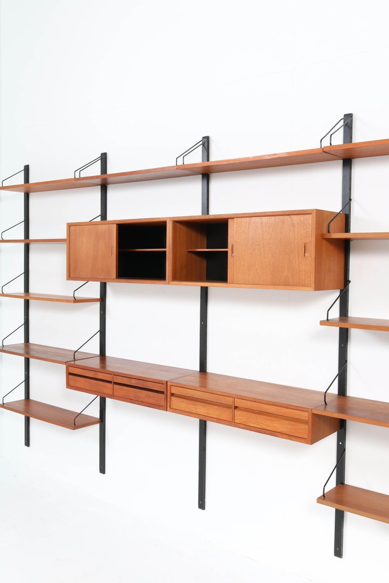 Large Teak Mid-Century Modern Royal Wall Unit by Poul Cadovius, 1950s 8