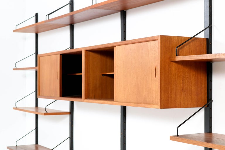 Large Teak Mid-Century Modern Royal Wall Unit by Poul Cadovius, 1950s 9