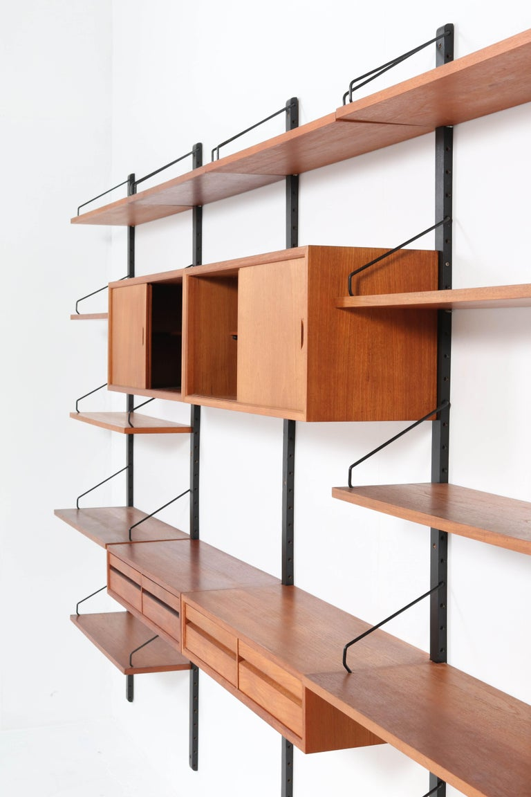 Large Teak Mid-Century Modern Royal Wall Unit by Poul Cadovius, 1950s 10