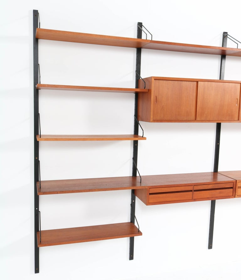 Large Teak Mid-Century Modern Royal Wall Unit by Poul Cadovius, 1950s 11