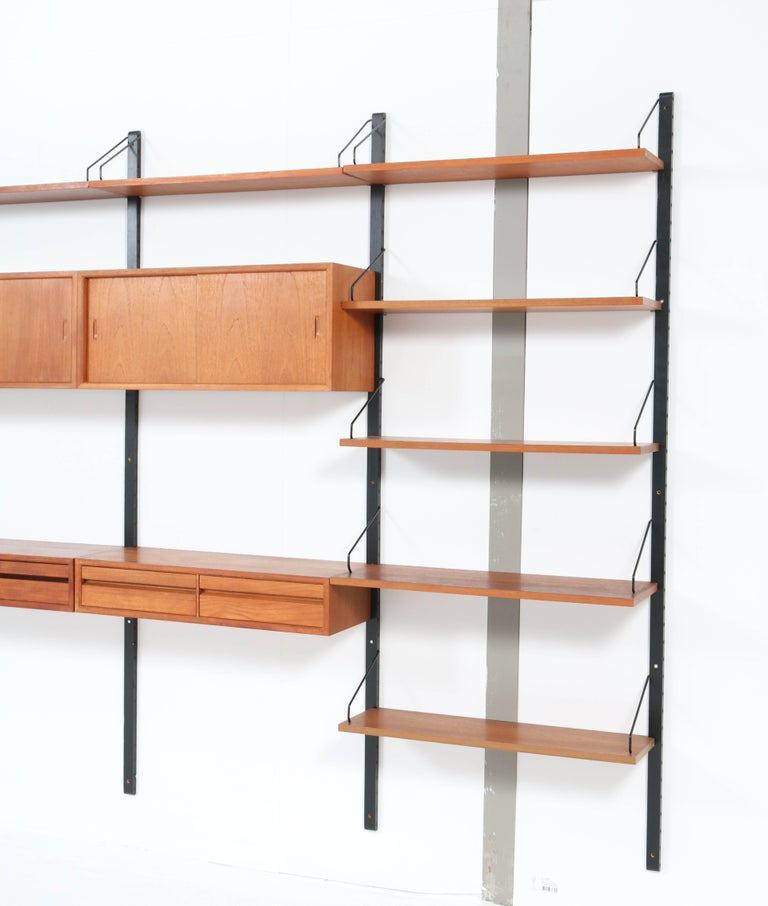 Large Teak Mid-Century Modern Royal Wall Unit by Poul Cadovius, 1950s 13