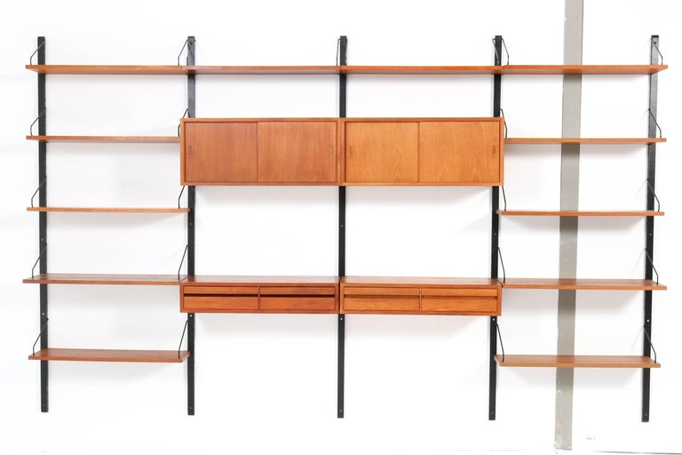 Lacquered Large Teak Mid-Century Modern Royal Wall Unit by Poul Cadovius, 1950s