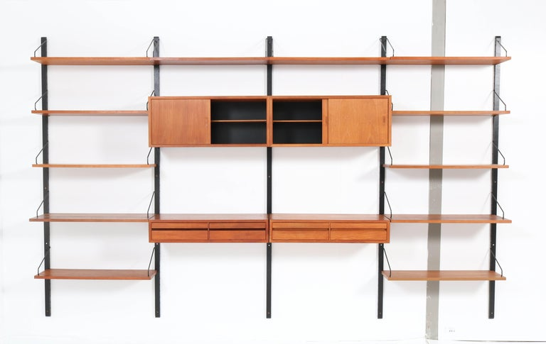 Mid-20th Century Large Teak Mid-Century Modern Royal Wall Unit by Poul Cadovius, 1950s