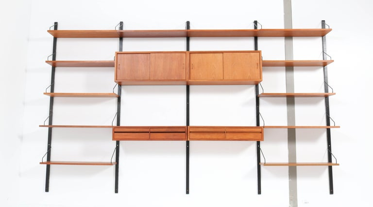 Large Teak Mid-Century Modern Royal Wall Unit by Poul Cadovius, 1950s 1