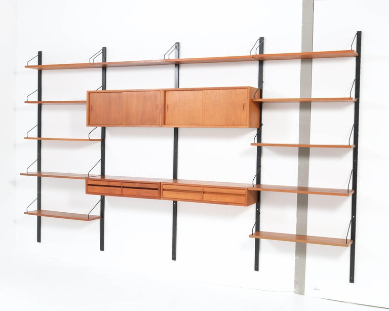 Large Teak Mid-Century Modern Royal Wall Unit by Poul Cadovius, 1950s 2