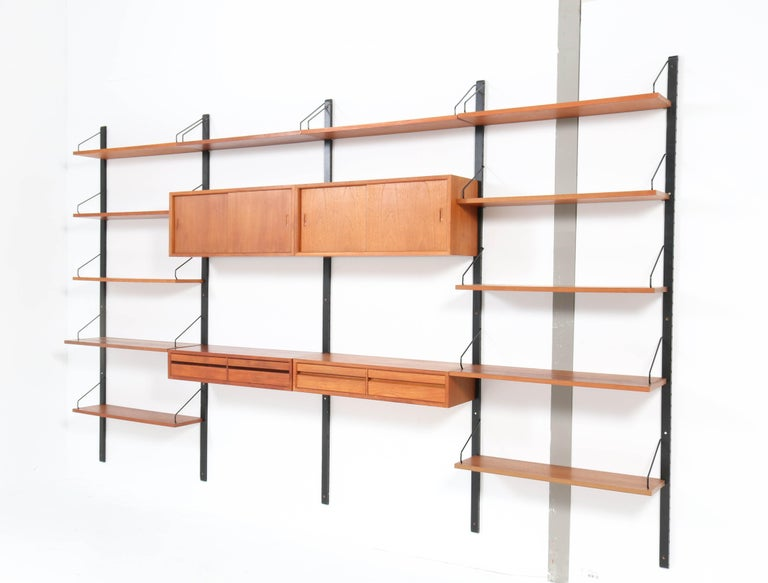 Large Teak Mid-Century Modern Royal Wall Unit by Poul Cadovius, 1950s 3