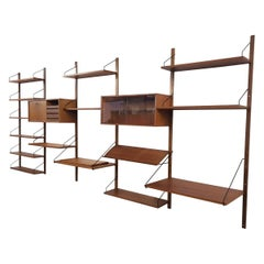 Large Teak Wall or Shelving Unit by Poul Cadovius for Royal System Denmark 1950s