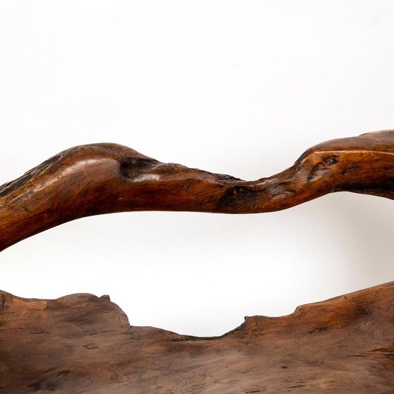Indonesian Large Teak Wood Handled Vessel or Platter For Sale