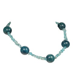 Large Teal Color Apatite Spheres Mixed with Tumbled Apatite Necklace