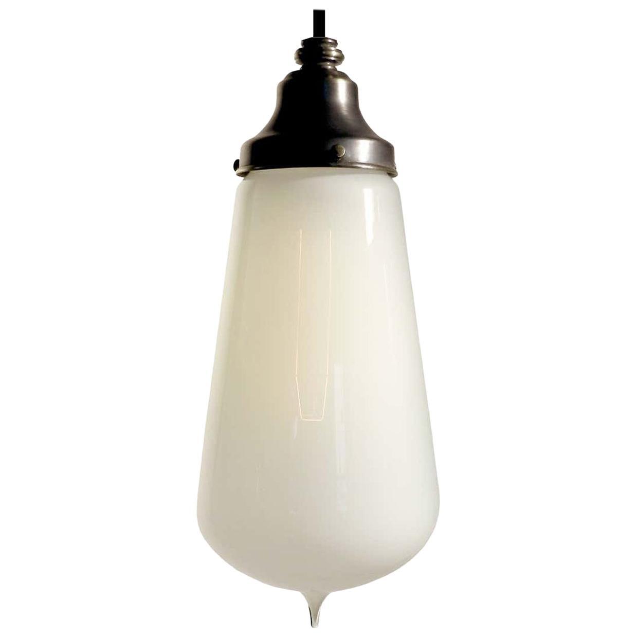 Large Teardrop Vaseline Opaline Glass Pendants