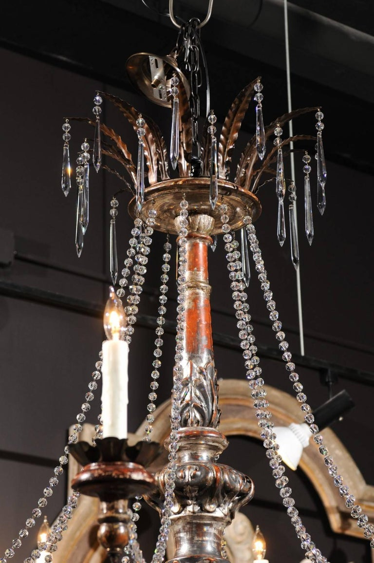 Large ten light wood and crystal chandelier made of 19th century italian pricket