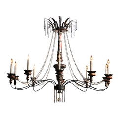 Large Ten-Light Wood and Crystal Chandelier Made of 19th Century Italian Pricket