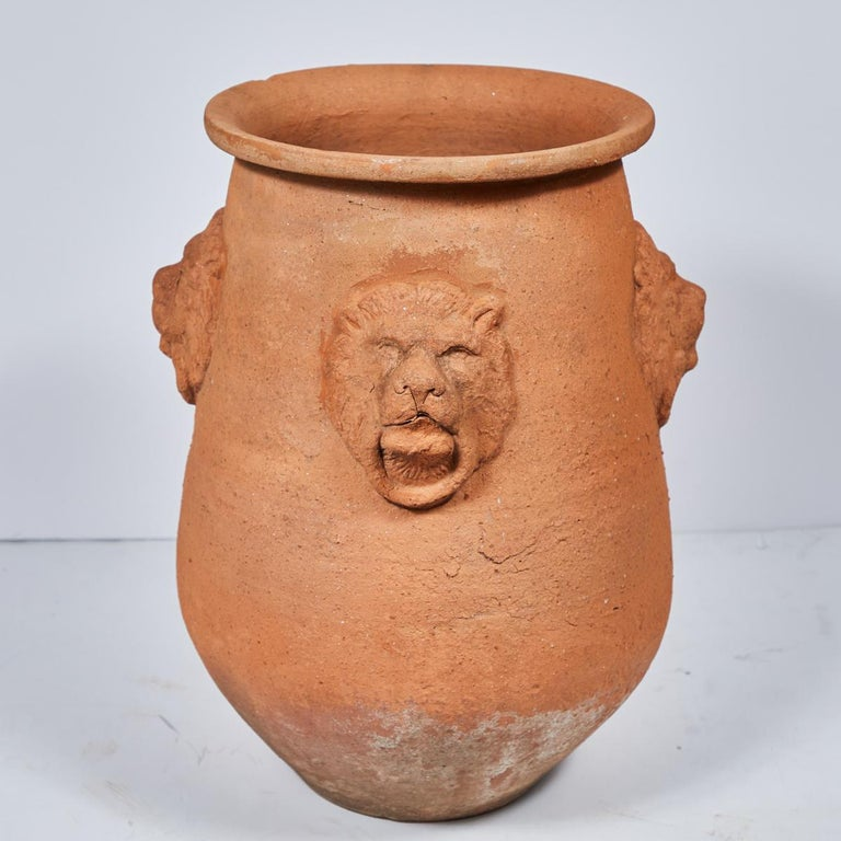 Large Terracotta Garden Pot with Lion Engraving from Early 20th Century, England For Sale 1